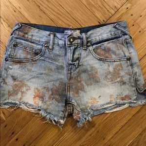 Free People Faded Floral Print Jean Shorts